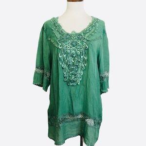 Pretty Angel Linen Cotton Jeweled Green Tunic